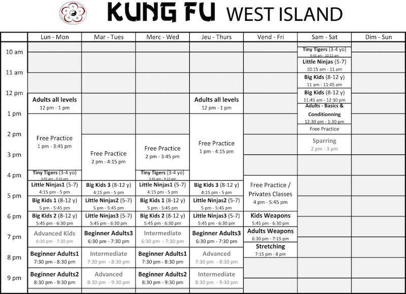 Kung Fu West Island Schedule 2016